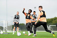 Nathan Dyer vies for possession with Matt Grimes of Swansea City  during the Swansea City Training Session at The Fairwood Training Ground, Wales, UK. Tuesday 11th September 2018