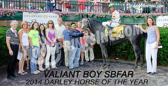 Valiant Boy SBFAR winning The Delaware Park Arabian Classic Handicap (gr 1) at Delaware Park on 7/12/14