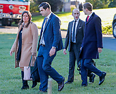 Presidential staffers Sarah Sanders (L), Johnny DeStafano (2-L), Stephen Miller (2-R) and Jared Kushner (R) follow US President Donald J. Trump to board Marine One before departing the White House in Washington, DC, USA, 24 October 2018. Trump was headed to Wisconsin for a campaign rally.<br /> Credit: Erik S. Lesser / Pool via CNP