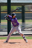 Colorado Rockies shortstop LJ Hatch (38) at bat during an Extended Spring Training game against the Chicago Cubs at Sloan Park on April 17, 2018 in Mesa, Arizona. (Zachary Lucy/Four Seam Images)