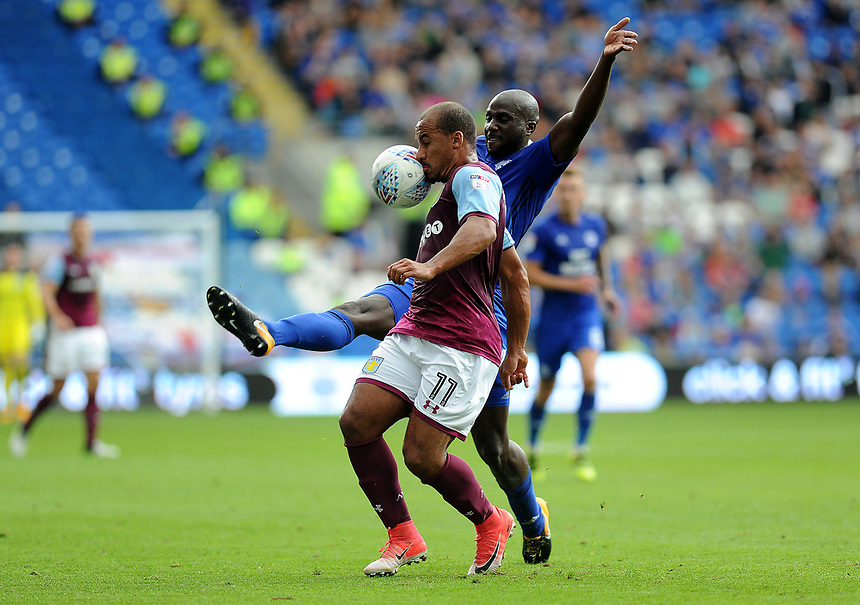 Aston Villa's Gabriel Agbonlahor in action <br /> <br /> Photographer Ashley Crowden/CameraSport<br /> <br /> The EFL Sky Bet Championship - Cardiff City v Aston Villa - Saturday August 12th 2017 - Cardiff City Stadium - Cardiff<br /> <br /> World Copyright &copy; 2017 CameraSport. All rights reserved. 43 Linden Ave. Countesthorpe. Leicester. England. LE8 5PG - Tel: +44 (0) 116 277 4147 - admin@camerasport.com - www.camerasport.com