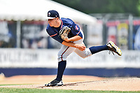 Rome Braves starting pitcher Bryce Wilson (52) delivers a pitch during a game against the Asheville Tourists at McCormick Field on June 11, 2017 in Asheville, North Carolina. The Braves defeated the Tourists 3-1. (Tony Farlow/Four Seam Images)