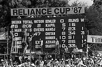 Pix:Michael Steele/SWpix...International Cricket. India v New Zealand, Nagpur, India, 1987...COPYRIGHT PICTURE>>SIMON WILKINSON..Scoreboard.