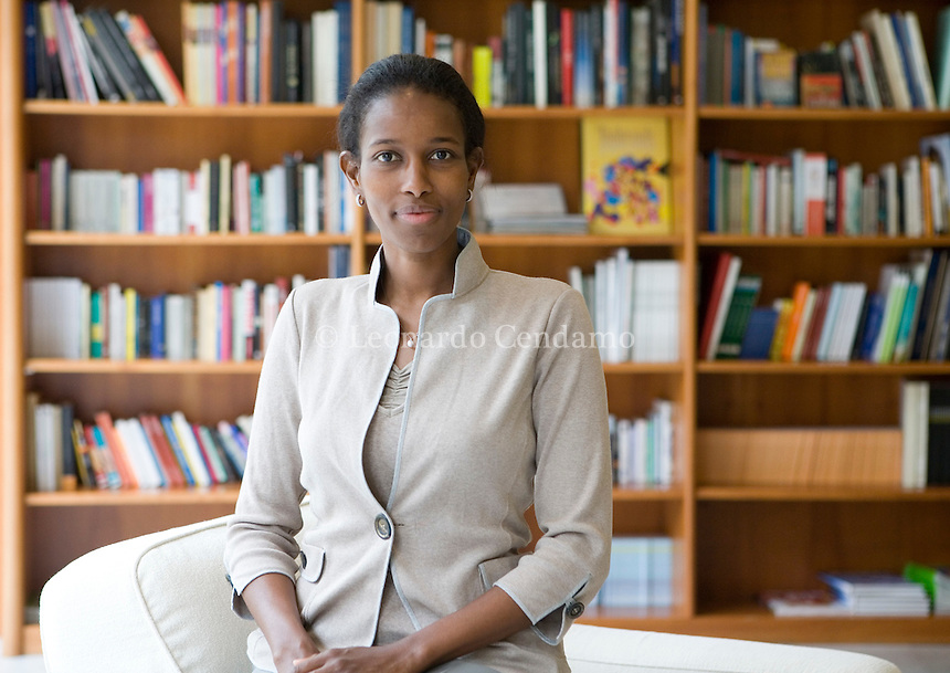 Turin, Italy, May 2007. Ayaan Hirsi Ali, Somalian writer, become Dutch citizen. Ayaan Hirsi Ali is an intellectual, feminist, activist and critic of Islam. In 2007 she establishes the AHA Foundation to protect the women's rights violated in the name of Islamic fundamentalism.