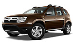 Low aggressive front three quarter view of a 2010 Dacia Duster 4 Door SUV.