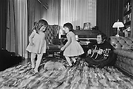 "March 1971, New Jersey, USA. Paul Anka and daughters at home. Paul Anka (b. July 30, 1941) is a Canadian singer, songwriter and actor who became famous with the hit songs ""Diana"", ""Lonely Boy"" and ""Put Your Head on My Shoulder"", as well as famously wrote the well-known theme music for The Tonight Show Starring Johnny Carson and one of Tom Jones's biggest hits, ""She's a Lady"". Image by © JP Laffont"