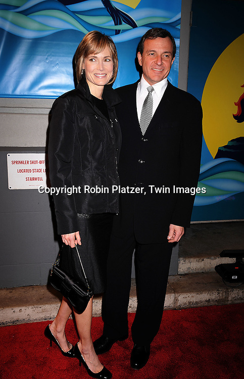 """Willow Bay and husband Robert Iger.arriving at The Broadway Opening Night of """"The Little Mermaid"""" on January 10, 2008 at The Lunt-Fontaine Theatre in New .York."""