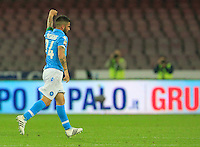 Lorenzo Insigne celebrates after scoring during the Italian Serie A soccer match between   SSC Napoli and UC Sampdoria at San Paolo  Stadium in Naples ,April 26 , 2015