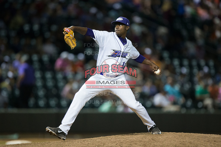 Winston-Salem Dash relief pitcher Andre Wheeler (11) in action against the Potomac Nationals at BB&T Ballpark on May 13, 2016 in Winston-Salem, North Carolina.  The Dash defeated the Nationals 5-4 in 11 innings.  (Brian Westerholt/Four Seam Images)