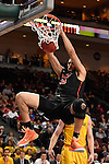 March 6, 2015; Las Vegas, NV, USA; Pacific Tigers center Sami Eleraky (35) dunks the basketball against the San Francisco Dons during the first half of the WCC Basketball Championships at Orleans Arena.