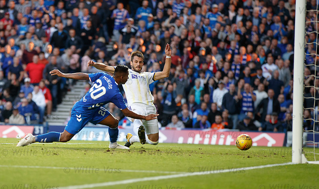 09.08.18 Rangers v Maribor: Alfredo Morelos gets the ball in the net foe a second time but is flagged offside