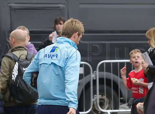20.04.2014.  Norwich, England.  Luciano Becchio of Norwich City may have been told he is not in the squad as he makes his way to his car before the Barclays Premier League match between Norwich City and Liverpool from Carrow Road.