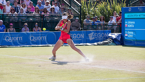 June 18th 2017, Nottingham, England; WTA Aegon Nottingham Open Tennis Tournament day 7 finals day;  Johanna Konta of Great Britain kicking up the dust in her match against Donna Vekic of Croatia