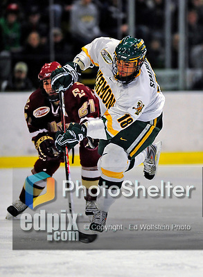 9 January 2009: University of Vermont Catamounts' forward Viktor Stalberg, a Junior from Gothenburg, Sweden, takes a shot during the first game of a weekend series against the Boston College Eagles at Gutterson Fieldhouse in Burlington, Vermont. The Catamounts scored with one second remaining in regulation time to earn a 3-3 tie with the visiting Eagles. Mandatory Photo Credit: Ed Wolfstein Photo