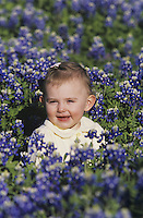Baby girl in field of Texas Bluebonnet (Lupinus texensis), San Antonio, Hill Country, Texas, USA