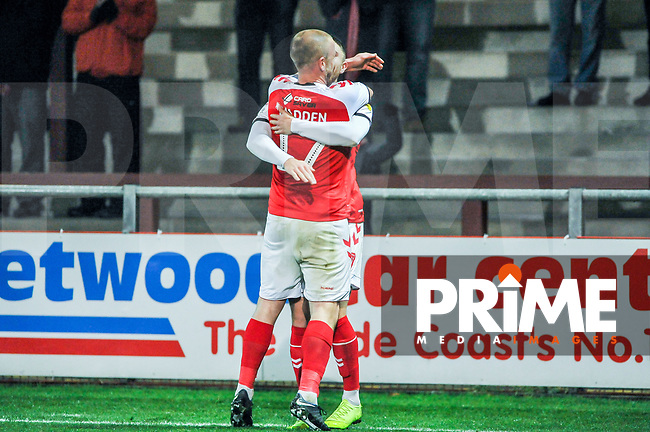 Fleetwood Town's forward Paddy Madden (17) hugs scorer Fleetwood Town's forward Wes Burns (7) during the Sky Bet League 1 match between Fleetwood Town and Coventry City at Highbury Stadium, Fleetwood, England on 27 November 2018. Photo by Stephen Buckley / PRiME Media Images.
