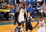 BROOKINGS, SD - NOVEMBER 1: David Jenkins #5 from South Dakota State University shoots a jumper over Jake Heath #5 from South Dakota School of Mines during their exhibition game Thursday night at Frost Arena in Brookings. (Photo by Dave Eggen/Inertia)