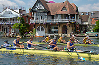 """Henley on Thames, United Kingdom, 3rd July 2018, Wednesday,  """"Henley Royal Regatta"""", Final of The Prince Albert Challenge Cup, Imperial College (foreground) after beating Goldie B.C.Henley Reach, River Thames, Thames Valley, England, UK."""