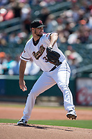 Sacramento RiverCats starting pitcher Tyler Beede (32) delivers a pitch to the plate during a Pacific Coast League against the Tacoma Rainiers at Raley Field on May 15, 2018 in Sacramento, California. Tacoma defeated Sacramento 8-5. (Zachary Lucy/Four Seam Images)