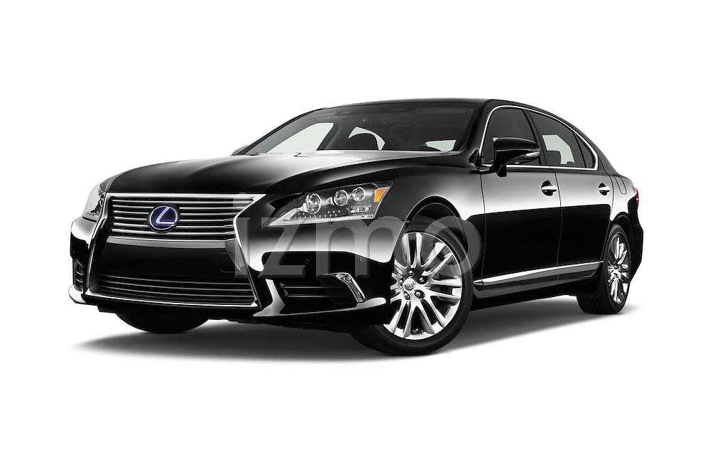 Stock pictures of low aggressive front three quarter view of 2016 Lexus LS 600h L 4 Door Sedan Low Aggressive