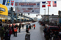 Matt Hall leaves the start line on 4th avenue during the 2019 ceremonial start of the Iditarod  in downtown Anchorage, Alaska on Saturday March 2..<br /> <br /> Photo by Jeff Schultz/  (C) 2019  ALL RIGHTS RESERVED