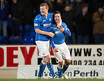 St Johnstone v Dundee United...27.12.14   SPFL<br /> Chris Millar celebrates with Brian Easton at full time<br /> Picture by Graeme Hart.<br /> Copyright Perthshire Picture Agency<br /> Tel: 01738 623350  Mobile: 07990 594431