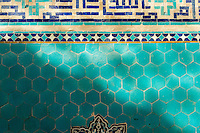 June 20, 2014 - Yazd (Iran). Close up of tiles inside the Jame Mosque of Yazd. The mosque is crowned by the highest pair of minarets in Iran. © Thomas Cristofoletti / Ruom
