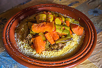 Morocco.  Moroccan Couscous for Lunch.  Ait Benhaddou Ksar, a World Heritage Site.