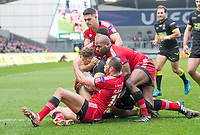 Picture by Allan McKenzie/SWpix.com - 07/04/2018 - Rugby League - Betfred Super League - Salford Red Devils v Warrington Wolves - AJ Bell Stadium, Salford, England - Warrington's Josh Charnley is brought down short of the try line by Salford's Mark Flanagan, Robert Lui and Derrell Olpherts.