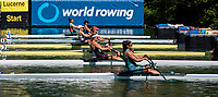 """Lucerne, SWITZERLAND, 13th July 2018, Friday, """"SUI W1X"""",  Jeannine GMELIN,  """"moves away"""" from the, start  in her heat of the """"Women's single sculls"""", at the, FISA World Cup series, No.3, Lake Rotsee, © Peter SPURRIER/Alamy Live News"""