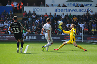 Connor Roberts of Swansea City in action during the Sky Bet Championship match between Swansea City and Rotherham United at the Liberty Stadium in Swansea, Wales, UK.  Friday 19 April 2019