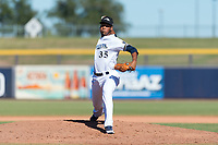 Peoria Javelinas relief pitcher Miguel Sanchez (35), of the Milwaukee Brewers organization, delivers a pitch during an Arizona Fall League game against the Scottsdale Scorpions at Peoria Sports Complex on October 18, 2018 in Peoria, Arizona. Scottsdale defeated Peoria 8-0. (Zachary Lucy/Four Seam Images)