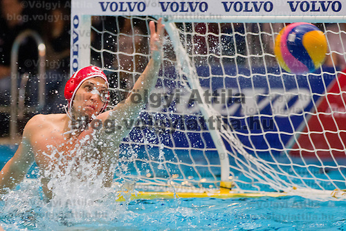 Italy's goalkeeper Giacomo Pastorino in action during the Volvo Water Polo Cup in Szekesfehervar, Hungary on January 07, 2012. ATTILA VOLGYI