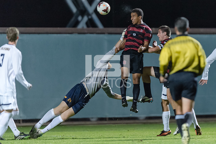 November 13, 2013:  Brandon Vincent during the Stanford vs Cal men's soccer match in Stanford, California.  Stanford won 2-1 in overtime.