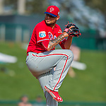 11 March 2016: Philadelphia Phillies pitcher Elvis Araujo on the mound during a Spring Training pre-season game against the Atlanta Braves at Champion Stadium in the ESPN Wide World of Sports Complex in Kissimmee, Florida. The Phillies defeated the Braves 9-2 in Grapefruit League play. Mandatory Credit: Ed Wolfstein Photo *** RAW (NEF) Image File Available ***