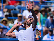 Washington, DC - July 24, 2016: Ivo Karlovic of Croatia   serves the ball during his finals match against Gael Monfils of France in the Citi Open at the Rock Creek Park Tennis Center in the District of Columbia, July 24, 2016.  (Photo by Don Baxter/Media Images International)