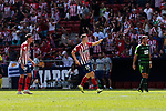 Atletico de Madrid's Jose Maria Gimenez (L) and Borja Garces (R) celebrate goal and SD Eibar's during La Liga match. September 15, 2018. (ALTERPHOTOS/A. Perez Meca)