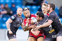 Picture by Allan McKenzie/SWpix.com - 26/04/2018 - Rugby League - Betfred Super League - Salford Red Devils v St Helens - AJ Bell Stadium, Salford, England - Junior Sa'u is tackled by Matty Smith.