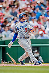 20 May 2018: Los Angeles Dodgers catcher Yasmani Grandal leads off the second inning with a solo home run against the Washington Nationals at Nationals Park in Washington, DC. The Dodgers defeated the Nationals 7-2, sweeping their 3-game series. Mandatory Credit: Ed Wolfstein Photo *** RAW (NEF) Image File Available ***