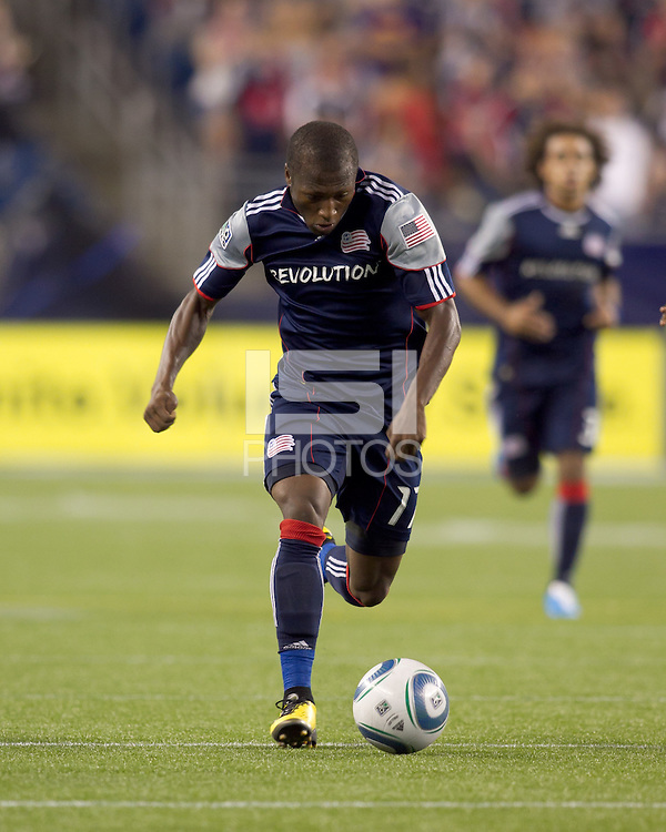 New England Revolution midfielder Sainey Nyassi (17) dribbles down the wing. The New England Revolution tied Columbus Crew, 2-2, at Gillette Stadium on September 25, 2010.