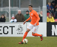 20150314 - GENDT , NETHERLANDS  : Dutch Reda Boultam pictured during the soccer match between Under 17 teams of  The Netherlands and Northern Ireland , on the second matchday in group 3 of the UEFA Elite Round Under 17 at De Bataven Stadion , Gendt , The Netherlands . Saturday  14 th March 2015 . PHOTO DAVID CATRY