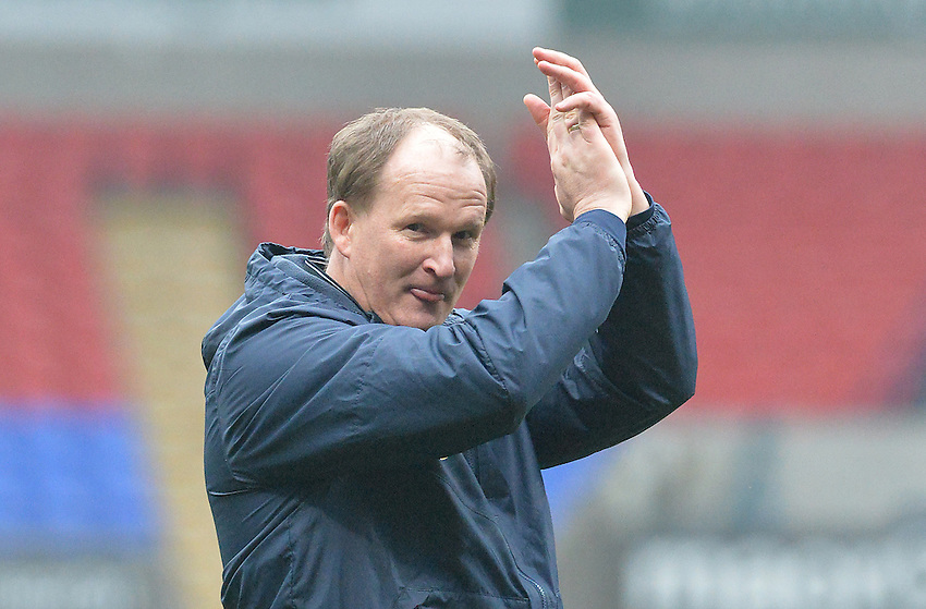 Preston North End's Manager Simon Grayson celebrates at the final whistle<br /> <br /> Photographer Dave Howarth/CameraSport<br /> <br /> Football - The Football League Sky Bet Championship - Bolton Wanderers v Preston North End - Saturday 12th March 2016 - Macron Stadium - Bolton <br /> <br /> &copy; CameraSport - 43 Linden Ave. Countesthorpe. Leicester. England. LE8 5PG - Tel: +44 (0) 116 277 4147 - admin@camerasport.com - www.camerasport.com