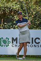 LPGA player Lorena Ochoa (MEX) watches her tee shot on 17 as she prepares to golf the last two holes with Jordan Spieth (USA) during the preview of the World Golf Championships, Mexico, Club De Golf Chapultepec, Mexico City, Mexico. 2/28/2018.<br /> Picture: Golffile | Ken Murray<br /> <br /> <br /> All photo usage must carry mandatory copyright credit (&copy; Golffile | Ken Murray)