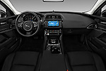 Stock photo of straight dashboard view of a 2018 Jaguar XE Prestige 4 Door Sedan