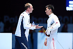 (L-R) <br />   Gorbachuk Oleksandr, <br /> Kazuyasu Minobe (JPN), <br /> AUGUST 19, 2018 - Fencing : <br /> Men's Individual Epee Round of 16 <br /> at Jakarta Convention Center Cendrawasih <br /> during the 2018 Jakarta Palembang Asian Games <br /> in Jakarta, Indonesia. <br /> (Photo by Naoki Nishimura/AFLO SPORT)