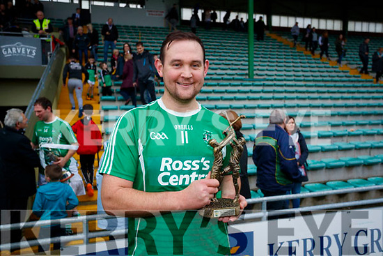 Aidan Boyle Ballyduff Man of the Match celebrating after the Senior County Hurling Final in Austin Stack Park on Sunday