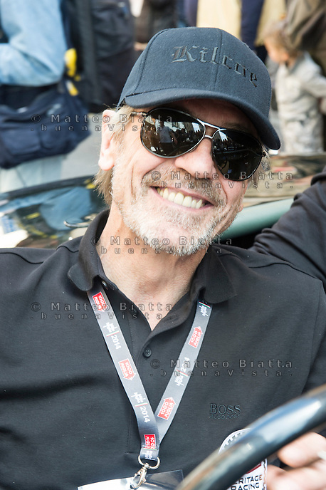 MILLE MIGLIA HYSTORICAL CAR RACE 2014 IN THE PICTURE THE ACTOR JEREMY IRONS<br /> BRESCIA 15/05/2014 PHOTO BY MATTEO BIATTA