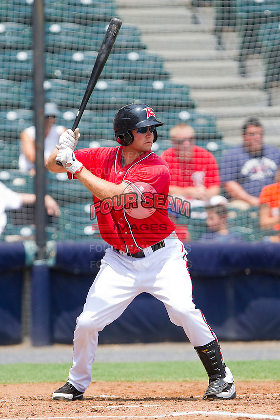Wes Hodges #18 of the Richmond Flying Squirrels at bat against the Harrisburg Senators at The Diamond on July 22, 2011 in Richmond, Virginia.  The Squirrels defeated the Senators 5-1.   (Brian Westerholt / Four Seam Images)