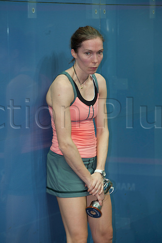 16.02.2014 Manchester, England. Madeline Perry after her defeat to Alison Waters in the Womens Final of The British National Squash Championships from the National Squash Centre.