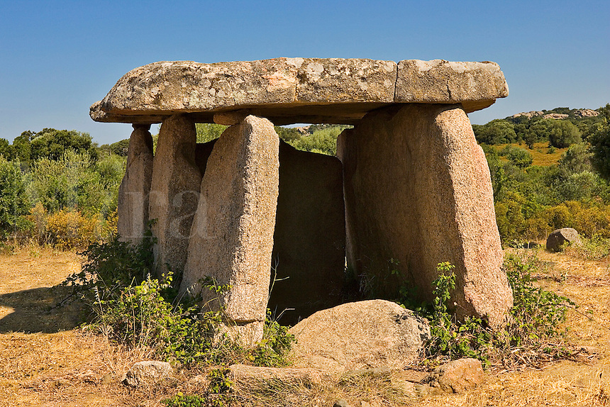 Corsica. Dolmen at Fontanaccia. Sartenais. France.  Biggest monument of its type in Corsica. La Forge du Diable.  Burial or funeral site. Discovered by Prosper Merimee in 1840.